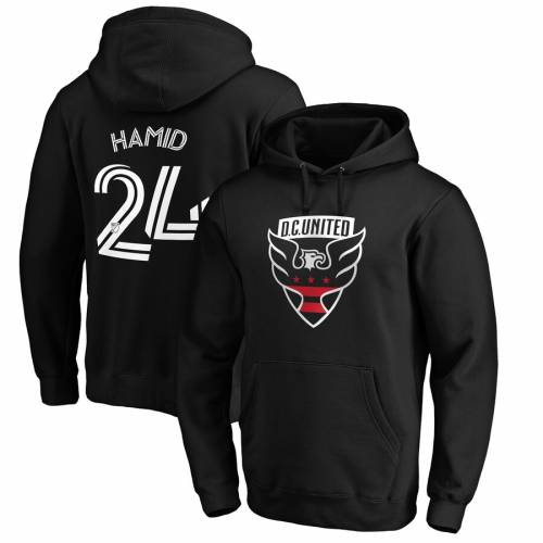 FANATICS BRANDED オーセンティック 黒 ブラック D.c. メンズファッション トップス パーカー メンズ 【 Bill Hamid D.c. United Authentic Stack Player Name And Number Pullover Hoodie - Black 】 Black