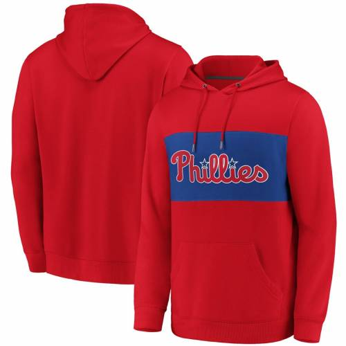 FANATICS BRANDED フィラデルフィア フィリーズ チーム メンズファッション トップス パーカー メンズ 【 Philadelphia Phillies True Classics Team Faux Cashmere Tri-blend Pullover Hoodie - Red/royal 】 Red/royal