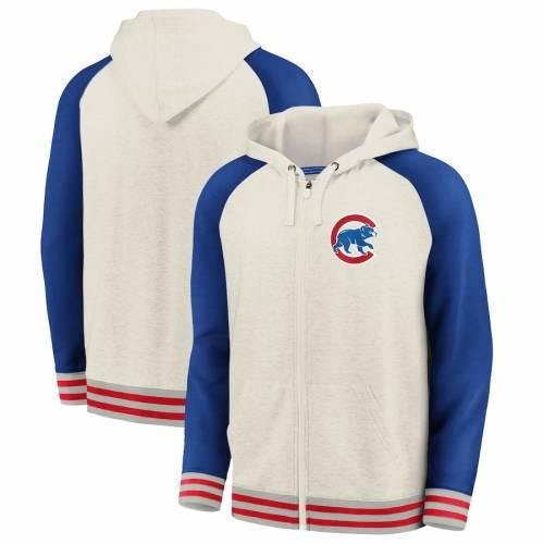 FANATICS BRANDED シカゴ カブス メンズファッション トップス パーカー メンズ 【 Chicago Cubs Full-zip Hoodie - Cream/royal 】 Cream/royal
