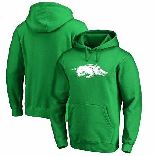 FANATICS BRANDED 白 ホワイト ロゴ 緑 グリーン St. メンズファッション トップス パーカー メンズ 【 Arkansas Razorbacks St. Patricks Day White Logo Pullover Hoodie - Green 】 Green