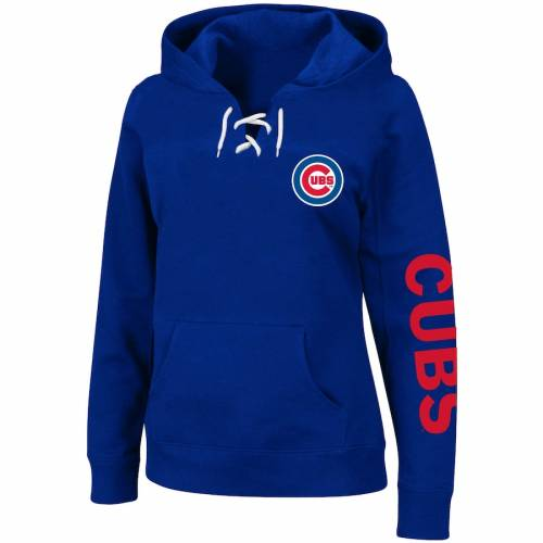 PROFILE シカゴ カブス レディース ジャージ WOMEN'S 【 PROFILE CHICAGO CUBS PLUS SIZE JERSEY LACEUP PULLOVER HOODIE ROYAL 】 レディースファッション トップス パーカー
