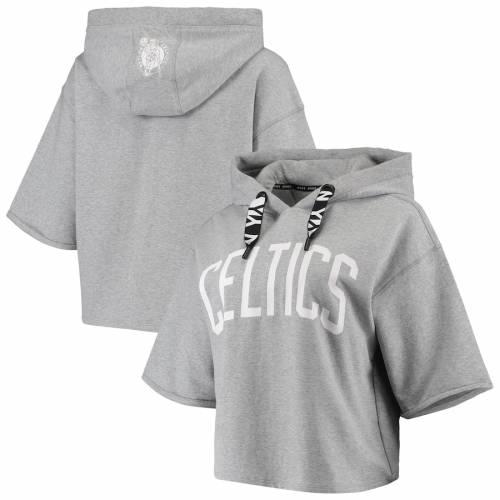 DKNY SPORT ボストン セルティックス レディース 灰色 グレー グレイ レディースファッション トップス パーカー 【 Boston Celtics Womens Emma Cropped Pullover Hoodie - Gray 】 Gray