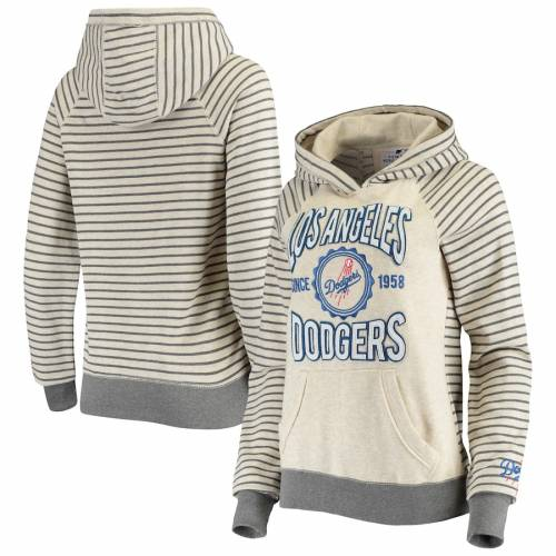 SOFT AS A GRAPE ドジャース レディース レディースファッション トップス パーカー 【 Los Angeles Dodgers Womens Striped Pullover Hoodie - Oatmeal 】 Oatmeal