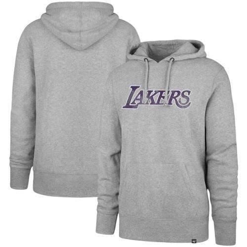 '47 レイカーズ 黒 ブラック メンズファッション トップス パーカー メンズ 【 Los Angeles Lakers Headline Pullover Hoodie - Black 】 Charcoal