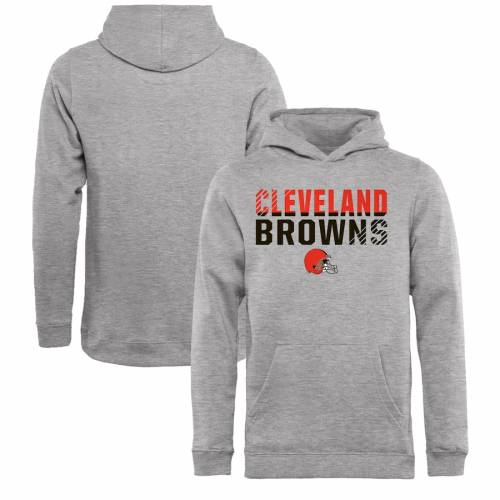 NFL PRO LINE BY FANATICS BRANDED クリーブランド ブラウンズ 子供用 コレクション キッズ ベビー マタニティ トップス ジュニア 【 Cleveland Browns Youth Iconic Collection Fade Out Pullover Hoodie - Ash 】 Ash