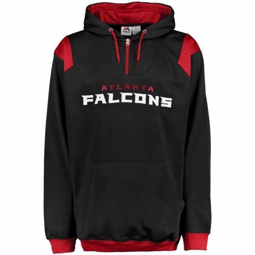 マジェスティック MAJESTIC アトランタ ファルコンズ 黒 ブラック メンズファッション トップス パーカー メンズ 【 Atlanta Falcons Big And Tall 1/4-zip Pullover Hoodie - Black 】 Black