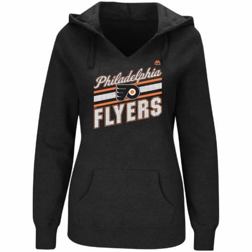 マジェスティック MAJESTIC フィラデルフィア レディース 黒 ブラック レディースファッション トップス パーカー 【 Philadelphia Flyers Womens Backchecking Hoodie - Black 】 Black
