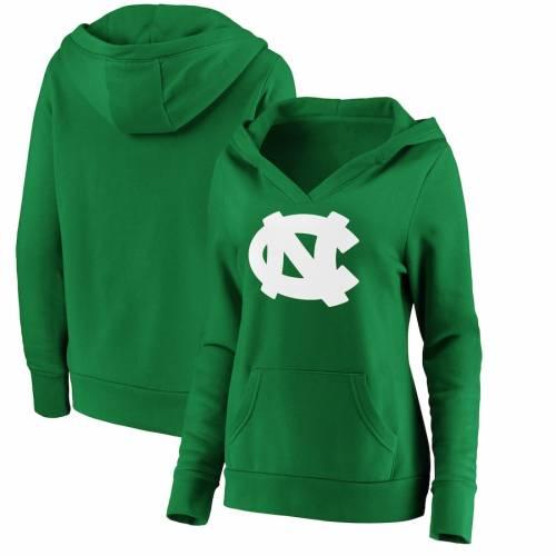 FANATICS BRANDED ノース カロライナ レディース 白 ホワイト ロゴ 緑 グリーン St. レディースファッション トップス パーカー 【 North Carolina Tar Heels Womens St. Patricks Day White Logo Pullover Hoodie - Gr