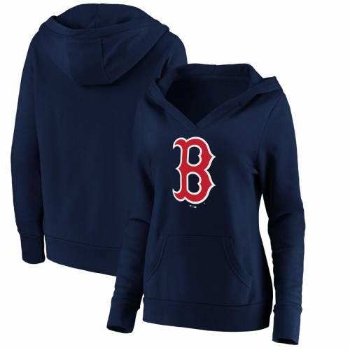 FANATICS BRANDED ボストン 赤 レッド レディース ロゴ ブイネック レディースファッション トップス パーカー 【 Boston Red Sox Womens Official Logo Crossover V-neck Pullover Hoodie - Red 】 Navy
