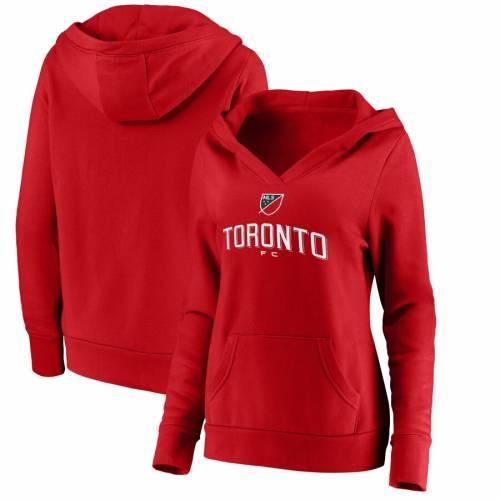 FANATICS BRANDED トロント レディース ロゴ 赤 レッド レディースファッション トップス パーカー 【 Toronto Fc Womens Shielded Logo Pullover Hoodie - Red 】 Red