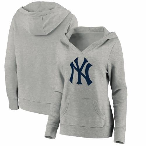FANATICS BRANDED ヤンキース レディース ロゴ ブイネック 灰色 グレー グレイ レディースファッション トップス パーカー 【 New York Yankees Womens Official Logo Crossover V-neck Pullover Hoodie - Heathered Gr