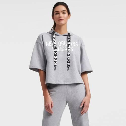 DKNY SPORT レディース 灰色 グレー グレイ レディースファッション トップス パーカー 【 New Orleans Pelicans Womens Emma Cropped Pullover Hoodie - Gray 】 Gray