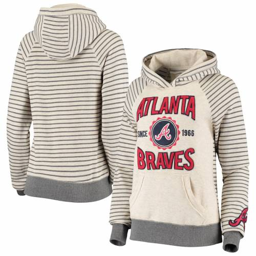 SOFT AS A GRAPE アトランタ ブレーブス レディース レディースファッション トップス パーカー 【 Atlanta Braves Womens Striped Pullover Hoodie - Oatmeal 】 Oatmeal