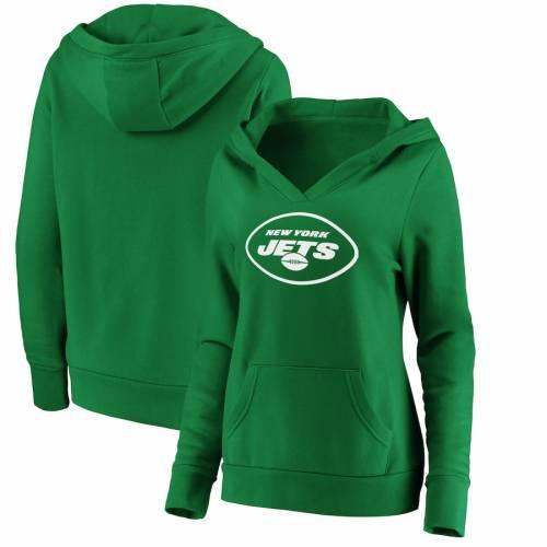 NFL PRO LINE BY FANATICS BRANDED ジェッツ レディース 白 ホワイト ロゴ 緑 グリーン St. レディースファッション トップス パーカー 【 New York Jets Womens St. Patricks Day White Logo Pullover Hoodie - Green 】