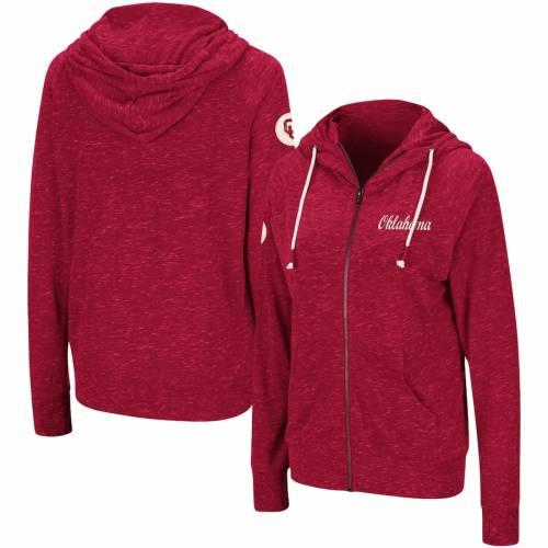 COLOSSEUM レディース ラグラン レディースファッション トップス パーカー 【 Oklahoma Sooners Womens April Raglan Full-zip Hoodie - Crimson 】 Crimson