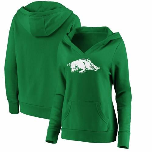 FANATICS BRANDED レディース 白 ホワイト ロゴ 緑 グリーン St. レディースファッション トップス パーカー 【 Arkansas Razorbacks Womens St. Patricks Day White Logo Pullover Hoodie - Green 】 Green