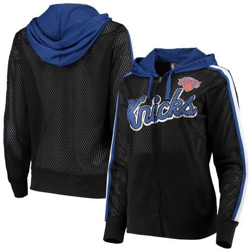 G-III 4HER BY CARL BANKS ニックス レディース 黒 ブラック レディースファッション トップス パーカー 【 New York Knicks Womens Top Of The Key Foil Mesh Full-zip Hoodie - Black 】 Black
