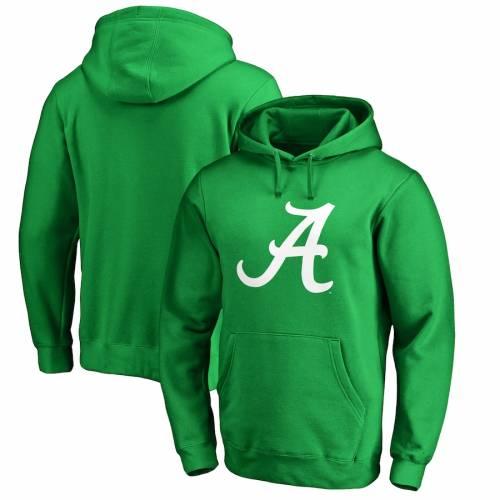 FANATICS BRANDED アラバマ 白 ホワイト ロゴ 緑 グリーン St. メンズファッション トップス パーカー メンズ 【 Alabama Crimson Tide St. Patricks Day White Logo Pullover Hoodie - Green 】 Green