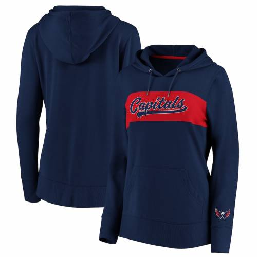 FANATICS BRANDED ワシントン レディース レディースファッション トップス パーカー 【 Washington Capitals Womens Color Block Pullover Hoodie - Navy/red 】 Navy/red