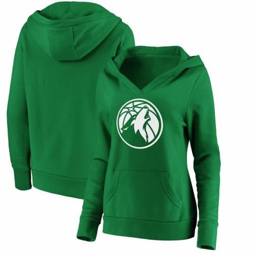 FANATICS BRANDED ミネソタ ティンバーウルブズ レディース 白 ホワイト ロゴ 緑 グリーン St. レディースファッション トップス パーカー 【 Minnesota Timberwolves Womens St. Patricks Day White Logo Pullove