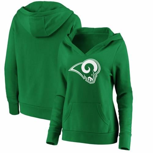NFL PRO LINE BY FANATICS BRANDED ラムズ レディース 白 ホワイト ロゴ 緑 グリーン St. レディースファッション トップス パーカー 【 Los Angeles Rams Womens St. Patricks Day White Logo Pullover Hoodie - Green 】
