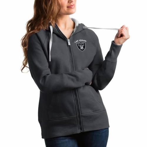 ANTIGUA レイダース レディース ビクトリー レディースファッション トップス パーカー 【 Las Vegas Raiders Womens Victory Full-zip Hoodie 】 Charcoal