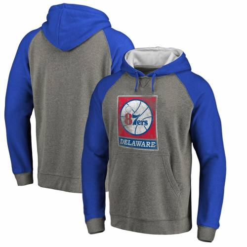 FANATICS BRANDED ラグラン 灰色 グレー グレイ メンズファッション トップス パーカー メンズ 【 Delaware 87ers Distressed Primary Tri-blend Raglan Pullover Hoodie - Heathered Gray 】 Heathered Gray