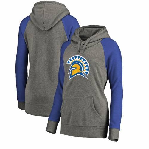 FANATICS BRANDED スケートボード レディース ロゴ ラグラン 灰色 グレー グレイ レディースファッション トップス パーカー 【 San Jose State Spartans Womens Primary Logo Tri-blend Raglan Pullover Hoodie - Hea