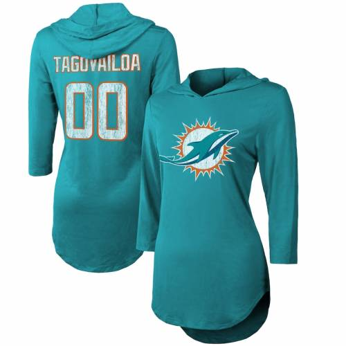 MAJESTIC THREADS マイアミ ドルフィンズ レディース スリーブ アクア レディースファッション トップス パーカー 【 Tua Tagovailoa Miami Dolphins Womens Hi-lo Name And Number 3/4 Sleeve Pullover Hoodie - Aqua 】