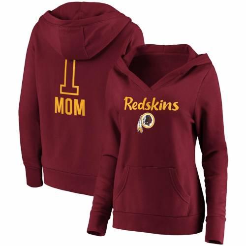 FANATICS BRANDED ワシントン レッドスキンズ レディース チーム ロゴ ブイネック ワイン色 バーガンディー #1 レディースファッション トップス パーカー 【 Washington Redskins Womens #1 Mom Team Log