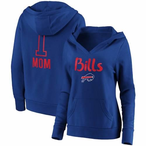 NFL PRO LINE BY FANATICS BRANDED バッファロー ビルズ レディース チーム ロゴ ブイネック #1 レディースファッション トップス パーカー 【 Buffalo Bills Womens #1 Mom Team Logo V-neck Pullover Hoodie - Royal