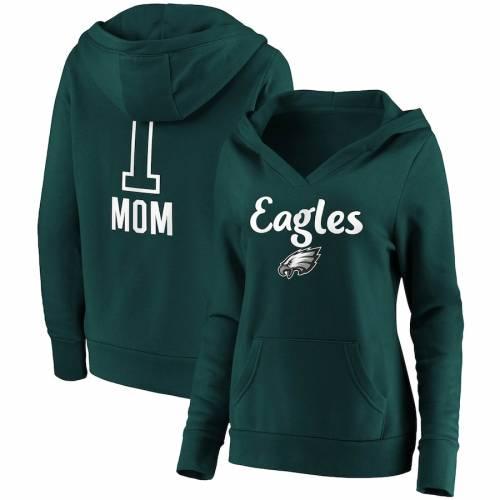 FANATICS BRANDED フィラデルフィア イーグルス レディース チーム ロゴ ブイネック 緑 グリーン #1 レディースファッション トップス パーカー 【 Philadelphia Eagles Womens #1 Mom Team Logo V-neck Pullov