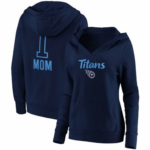 NFL PRO LINE BY FANATICS BRANDED テネシー タイタンズ レディース チーム ロゴ ブイネック 紺 ネイビー #1 レディースファッション トップス パーカー 【 Tennessee Titans Womens #1 Mom Team Logo V-neck Pullo