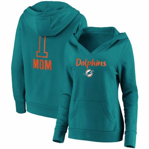 FANATICS BRANDED マイアミ ドルフィンズ レディース チーム ロゴ ブイネック アクア #1 レディースファッション トップス パーカー 【 Miami Dolphins Womens #1 Mom Team Logo V-neck Pullover Hoodie - Aqua 】