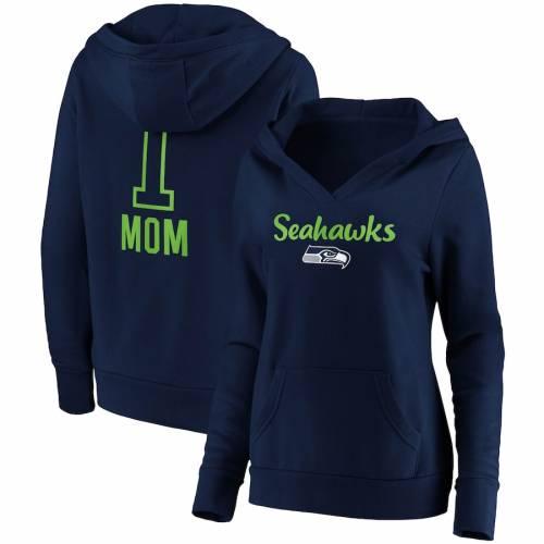 NFL PRO LINE BY FANATICS BRANDED シアトル シーホークス レディース チーム ロゴ ブイネック 紺 ネイビー #1 レディースファッション トップス パーカー 【 Seattle Seahawks Womens #1 Mom Team Logo V-neck Pu