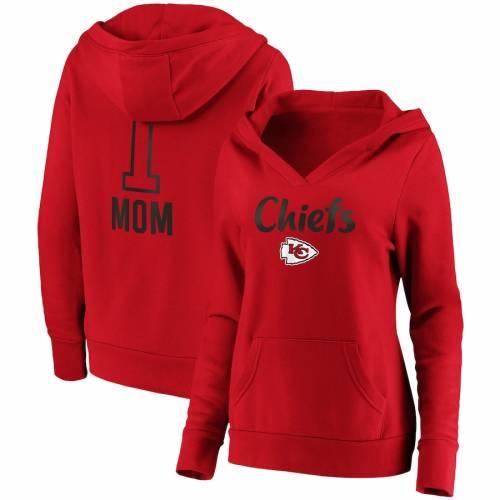 NFL PRO LINE BY FANATICS BRANDED カンザス シティ チーフス レディース チーム ロゴ ブイネック 赤 レッド #1 レディースファッション トップス パーカー 【 Kansas City Chiefs Womens #1 Mom Team Logo V-neck