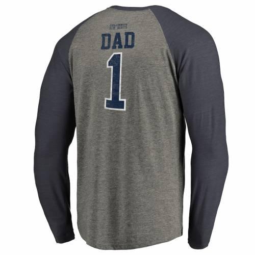 FANATICS BRANDED 青 ブルー ラグラン スリーブ Tシャツ 灰色 グレー グレイ メンズファッション トップス カットソー メンズ 【 Columbus Blue Jackets Big And Tall Fathers Day Greatest Dad Raglan Tri-blend Long