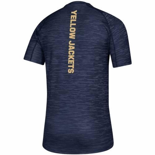 アディダス ADIDAS テック 黄色 イエロー ゲーム トレーニング サイドライン Tシャツ 紺 ネイビー メンズファッション トップス カットソー メンズ 【 Georgia Tech Yellow Jackets Game Mode Training C