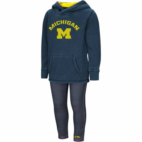 COLOSSEUM ミシガン ベビー 赤ちゃん用 赤ちゃん 幼児 キッズ マタニティ ジュニア 【 Michigan Wolverines Girls Toddler Shot At The Pros Hoodie And Jegging Set - Navy/denim 】 Navy/denim
