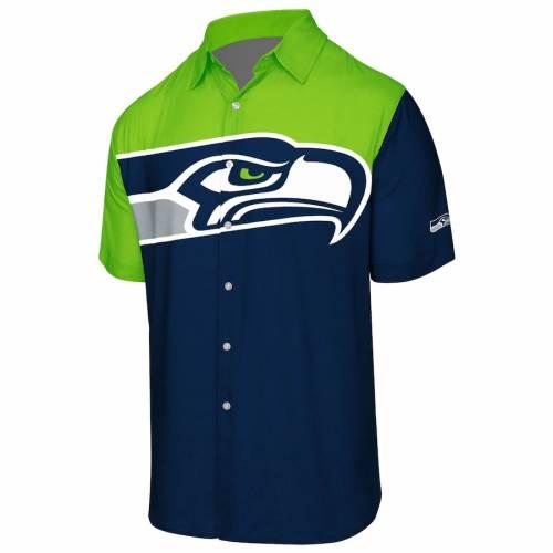 【スーパーセール中! 6/11深夜2時迄】FOCO シアトル シーホークス ロゴ ウーブン Tシャツ カレッジ 紺 ネイビー メンズファッション トップス カットソー メンズ 【 Seattle Seahawks Big Logo Button-up Woven T-shirt - College Navy 】 College Nav