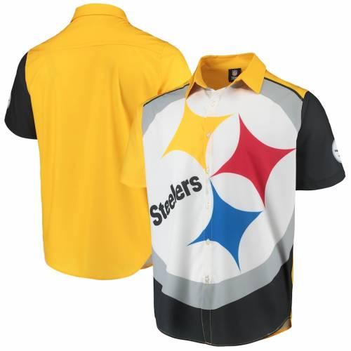 【スーパーセール中! 6/11深夜2時迄】FOCO ピッツバーグ スティーラーズ ロゴ ウーブン Tシャツ 黒 ブラック メンズファッション トップス カットソー メンズ 【 Pittsburgh Steelers Big Logo Button-up Woven T-shirt - Black 】 Black