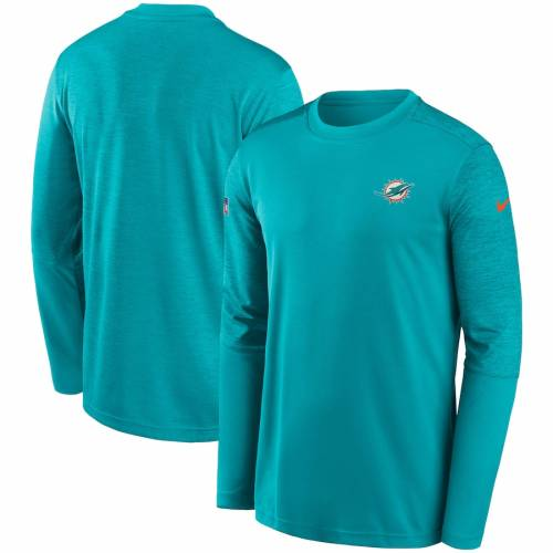 ナイキ NIKE マイアミ ドルフィンズ パフォーマンス スリーブ Tシャツ アクア メンズファッション トップス カットソー メンズ 【 Miami Dolphins Coach Uv Performance Long Sleeve T-shirt - Aqua/heathered A