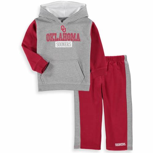 COLOSSEUM ベビー 赤ちゃん用 フリース パンツ キッズ マタニティ ジュニア 【 Oklahoma Sooners Toddler Back To School Fleece Hoodie And Pant Set - Heathered Gray/crimson 】 Heathered Gray/crimson