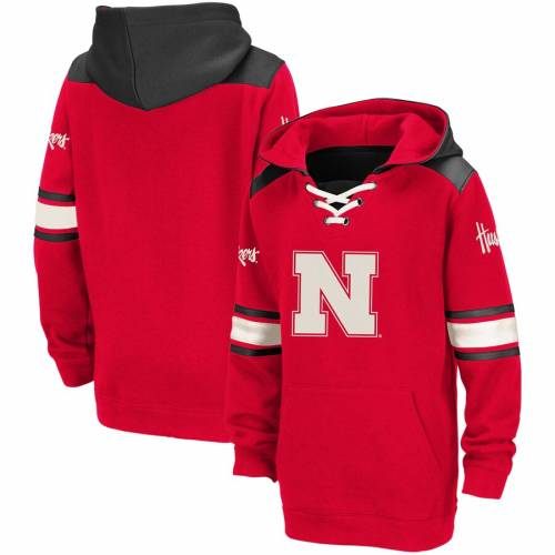 COLOSSEUM 子供用 キッズ ベビー マタニティ トップス ジュニア 【 Nebraska Cornhuskers Youth Lace-up Striped Pullover Hoodie - Scarlet 】 Scarlet