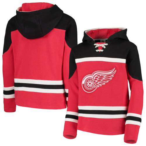 OUTERSTUFF デトロイト 赤 レッド 子供用 キッズ ベビー マタニティ ジュニア 【 Detroit Red Wings Youth Asset Lace-up Pullover Hoodie - Red 】 Red