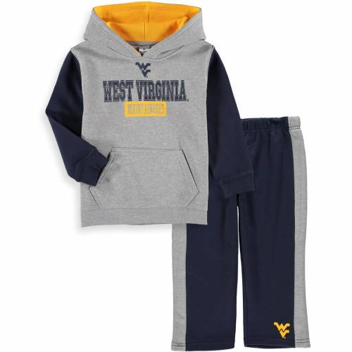COLOSSEUM バージニア ベビー 赤ちゃん用 フリース パンツ キッズ マタニティ ジュニア 【 West Virginia Mountaineers Toddler Back To School Fleece Hoodie And Pant Set - Heathered Gray/navy 】 Heathered Gray/navy