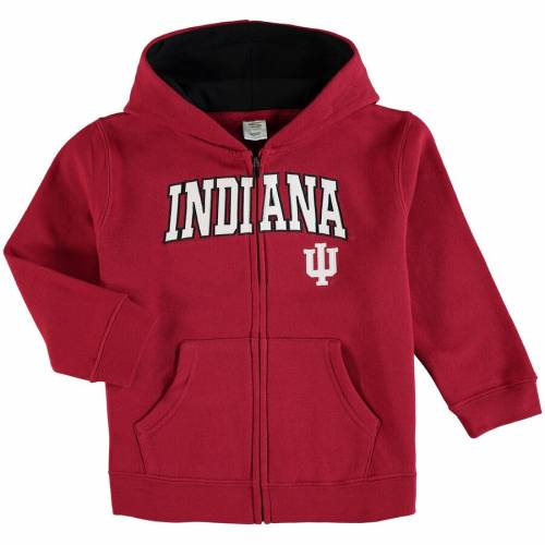 STADIUM ATHLETIC インディアナ ベビー 赤ちゃん用 ロゴ キッズ マタニティ トップス ジュニア 【 Indiana Hoosiers Toddler Applique Arch And Logo Full-zip Hoodie - Crimson 】 Crimson