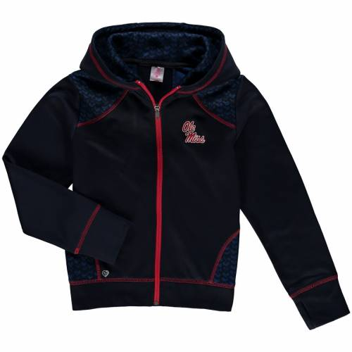 COLOSSEUM 子供用 紺 ネイビー キッズ ベビー マタニティ トップス ジュニア 【 Ole Miss Rebels Girls Youth Scaled Full Zip Hoodie - Navy 】 Navy