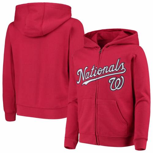 OUTERSTUFF ワシントン ナショナルズ 子供用 チーム 赤 レッド キッズ ベビー マタニティ トップス ジュニア 【 Washington Nationals Youth Team Color Wordmark Full-zip Hoodie - Red 】 Red