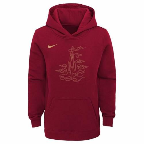 ナイキ NIKE ヒューストン ロケッツ 子供用 シティ 赤 レッド キッズ ベビー マタニティ トップス ジュニア 【 Houston Rockets Youth 2018/19 City Edition Essential Pullover Hoodie - Red 】 Red